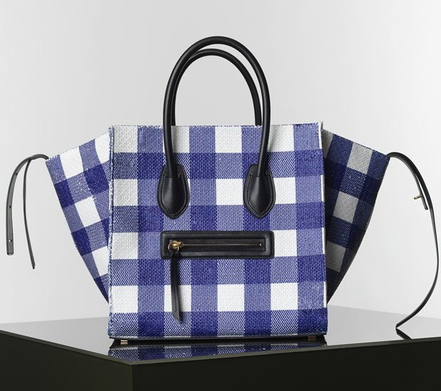 Celine-Luggage-Phantom-Handbag-in-Gingham-Woven