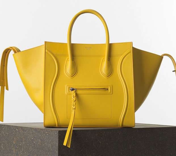 Celine-Luggage-Phantom-Handbag-in-Yellow-Grained-Calfskin