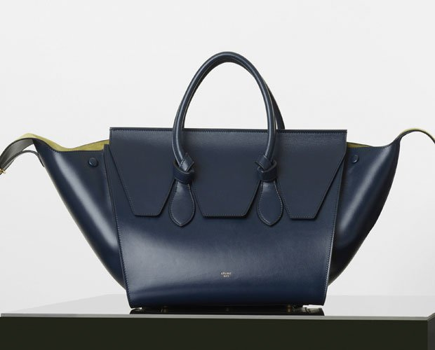 celine blue leather handbag tie