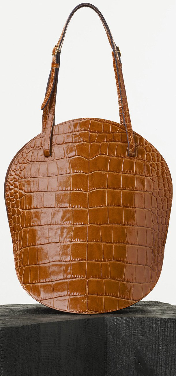 Celine-Curved-Shoulder-Bag-in-Tan-Crocodile