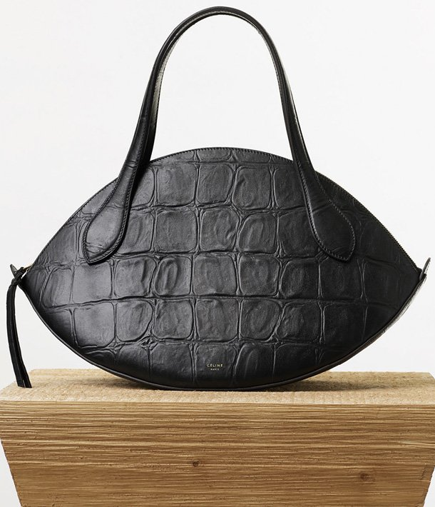 Celine-Large-Curved-Handbag-in-Black-Stamped-Crocodile-Calfskin