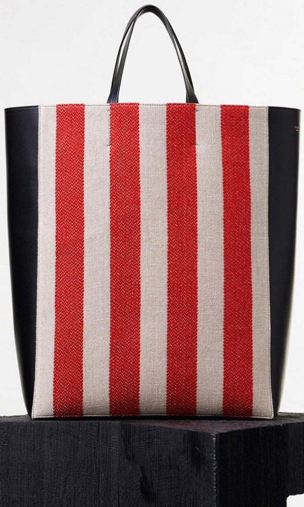 Celine-Vertical-Cabas-in-Textile-with-Natural-and-Red-Stripes