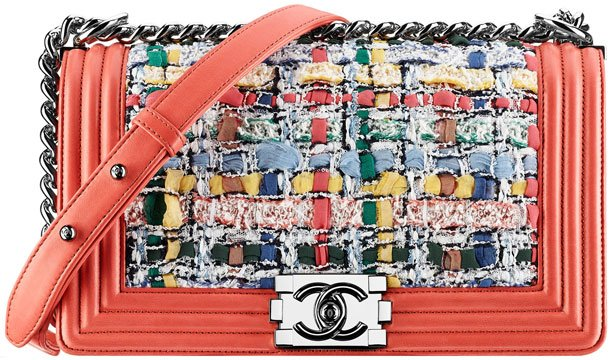 Chanel-Red-Multicolor-Tweed-Boy-Bag