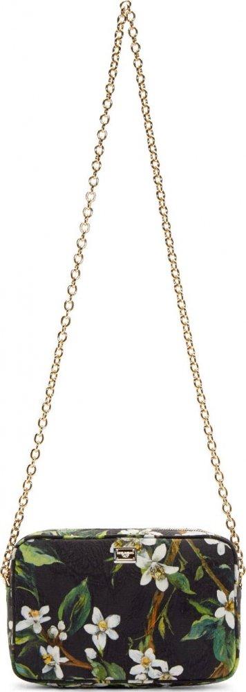Dolce-Gabbana-Black-&-Green-Orange-Blossom-Shoulder-Bag