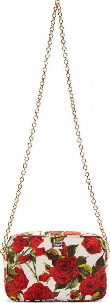 Dolce-Gabbana-White-&-Red-Print-Rose-Shoulder-Bag