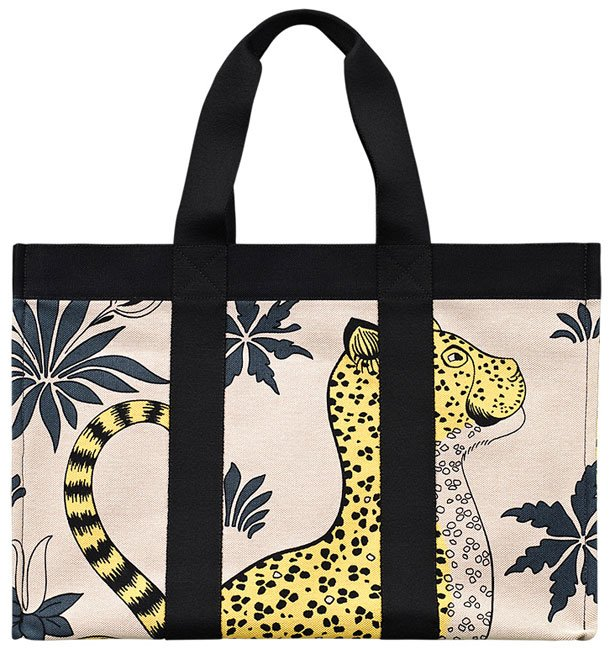 Hermes-leopard-beach-bag-yellow