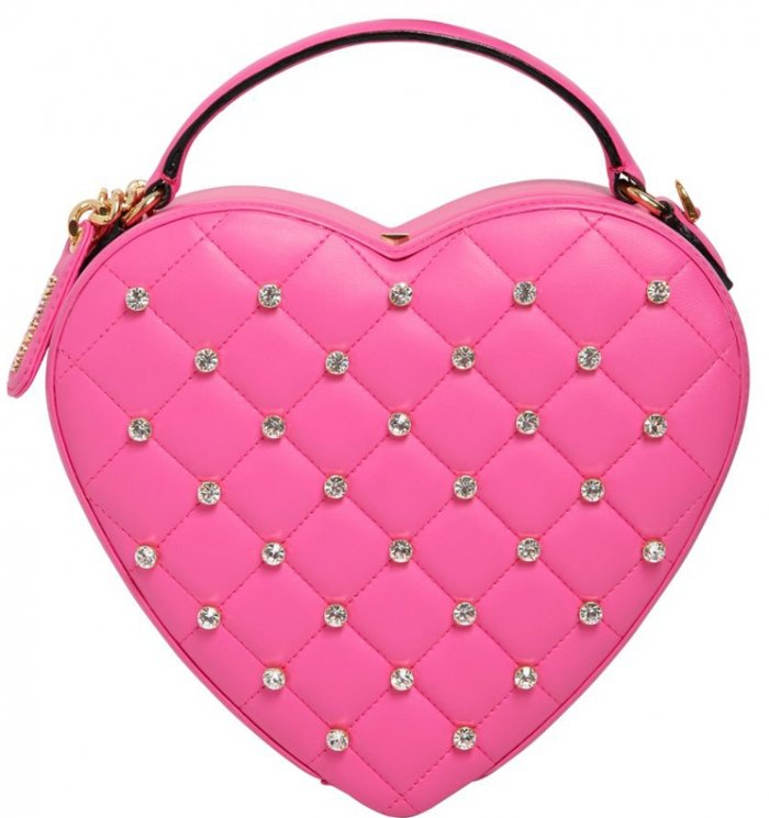 a8fa9b4fd334ad Moschino Quilted Heart Clutch With Swaroviski Stones | Bragmybag