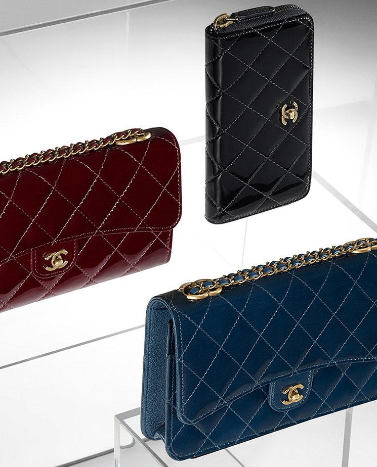 Chanel-Patent-Quilted-Wallet-On-Chain-3