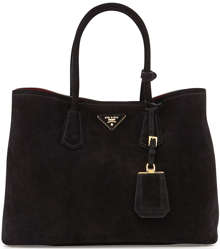 Prada Suede Double Tote Bag