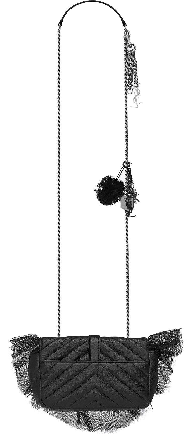 Saint Laurent Classic Baby Monogram Saint Laurent Chain Bag In Black Leather And Crochet