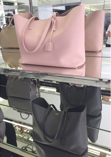 Large Shopping Saint Laurent Tote Bag In Pale Rose And Black Leather