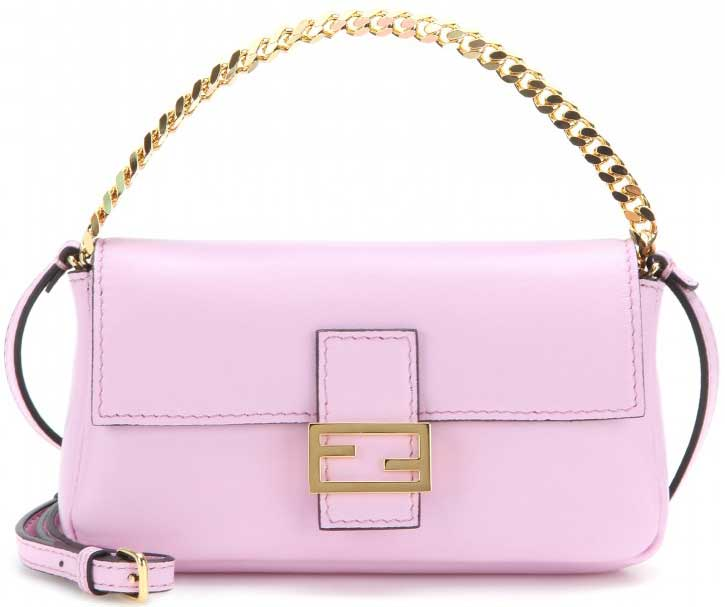 Fendi-Pink-Micro-Baguette-Chain-shoulder-bag