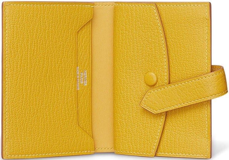 hermes card cases cumin yellow