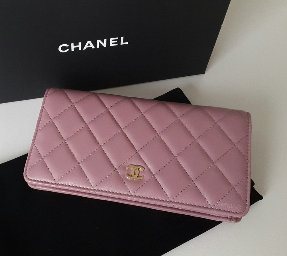 Shopping With Emmy Chanel Pink Rose Gold Bi Fold Quilted