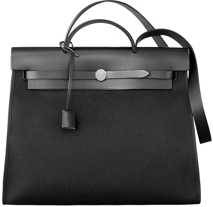 Hermes Herbag Zip Black Canvas Bag