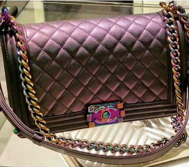 Boy Chanel Quilted Flap Bag With Oil Slick Clasp Bragmybag