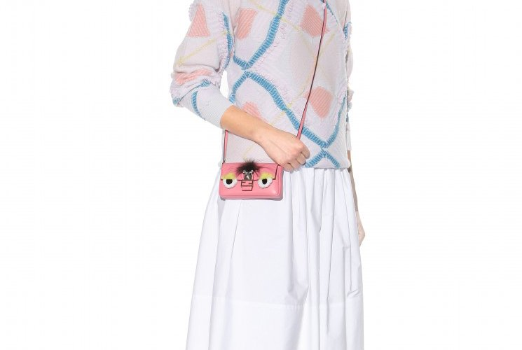 Fendi Micro Baguette Fur-Trimmed Shoulder Bag | Bragmybag