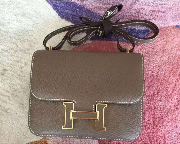 Hermes Small Constance Bag with Leather Logo And Golden Edges ...