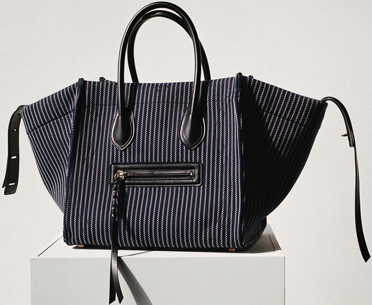 celine white tote - MICRO LUGGAGE HANDBAG IN NAVY BLUE CALFSKIN AND COTTON WOVEN