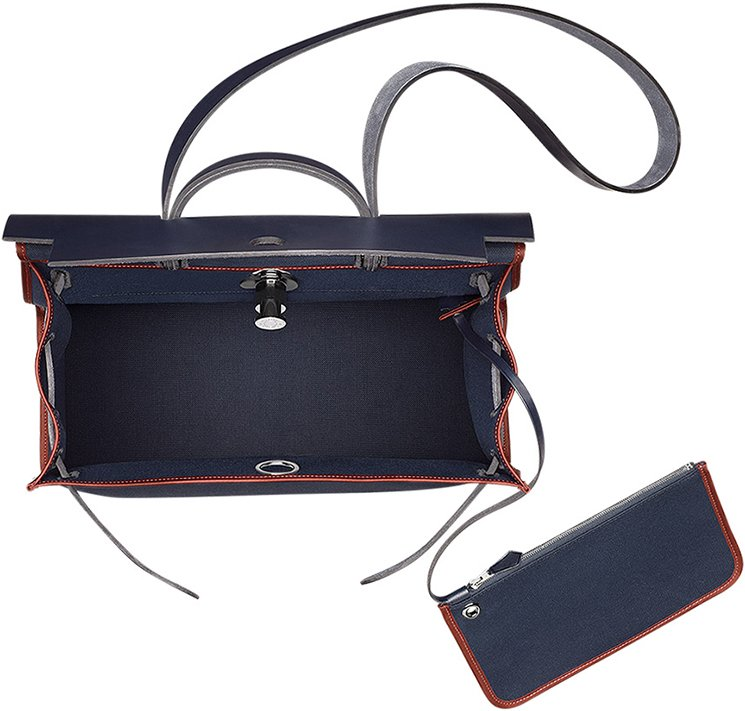 hermes navy leather handbag herbag