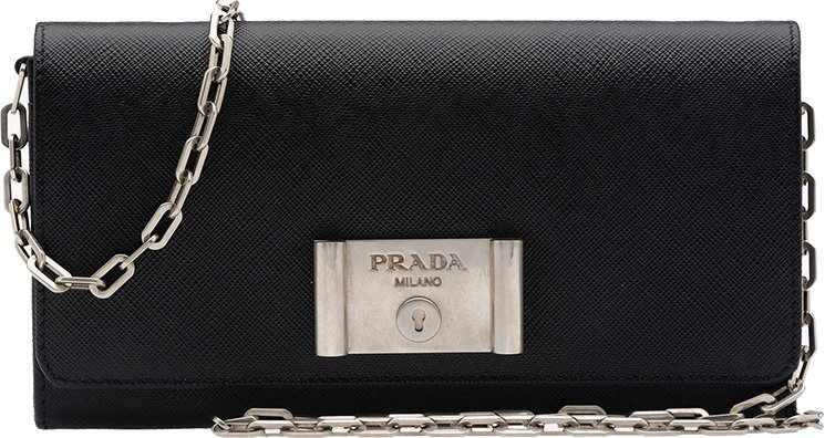 prada original bags sale - Prada Saffiano Lock Leather Flap Wallet on Chain | Bragmybag