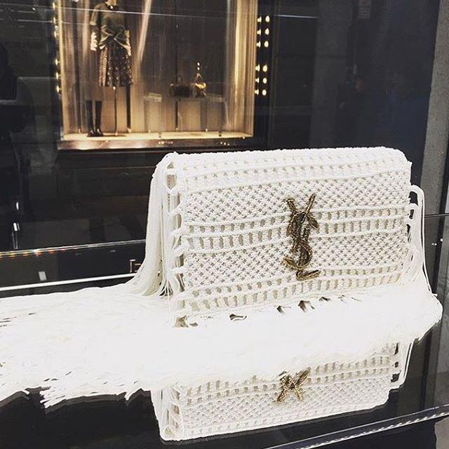 ... White Monogram Crochet Fringe Clutch Bag c62e9572d543e