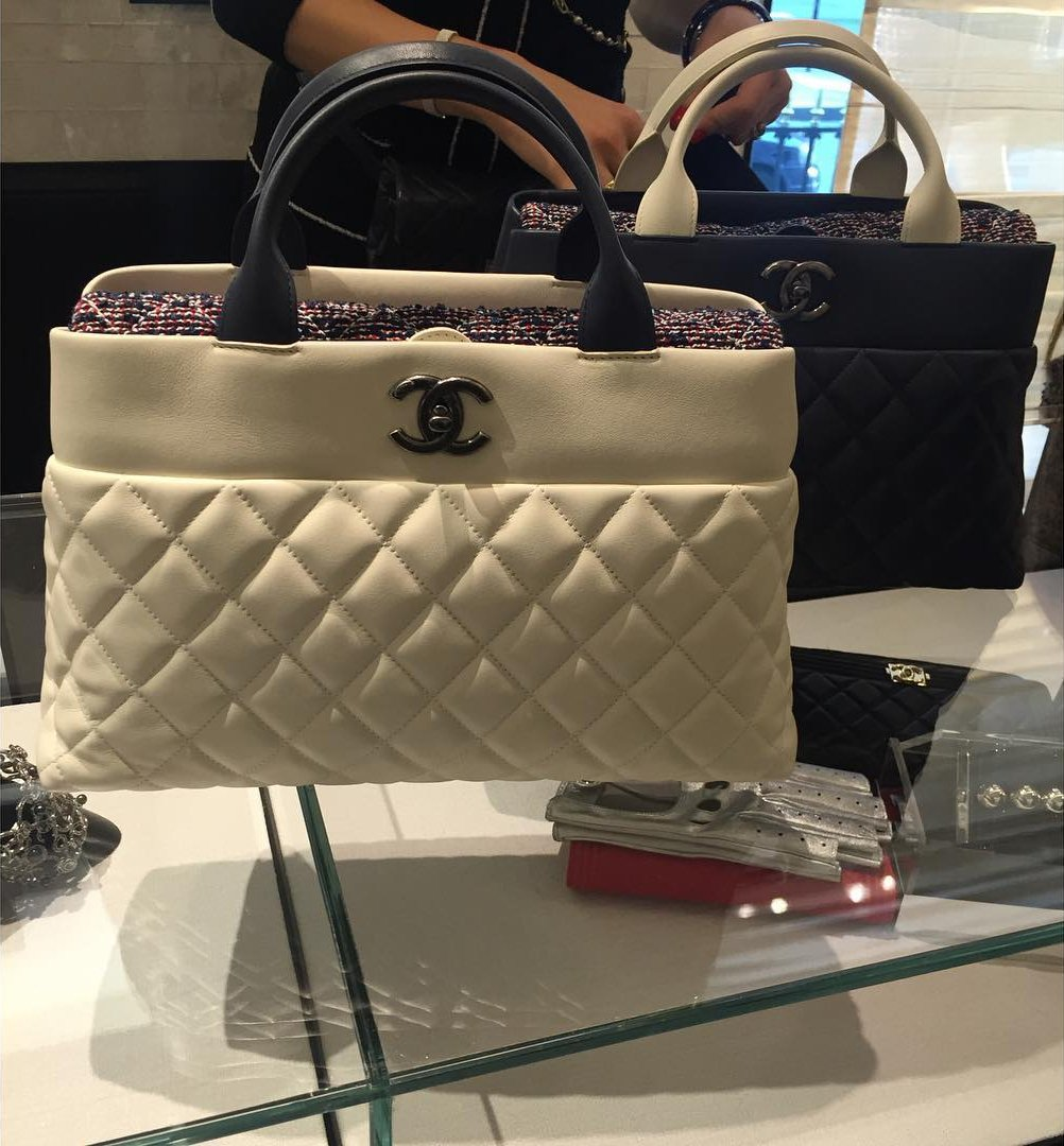 Chanel Quilted Bi-Color Handle Tote Bag | Bragmybag : chanel quilted tote bag price - Adamdwight.com