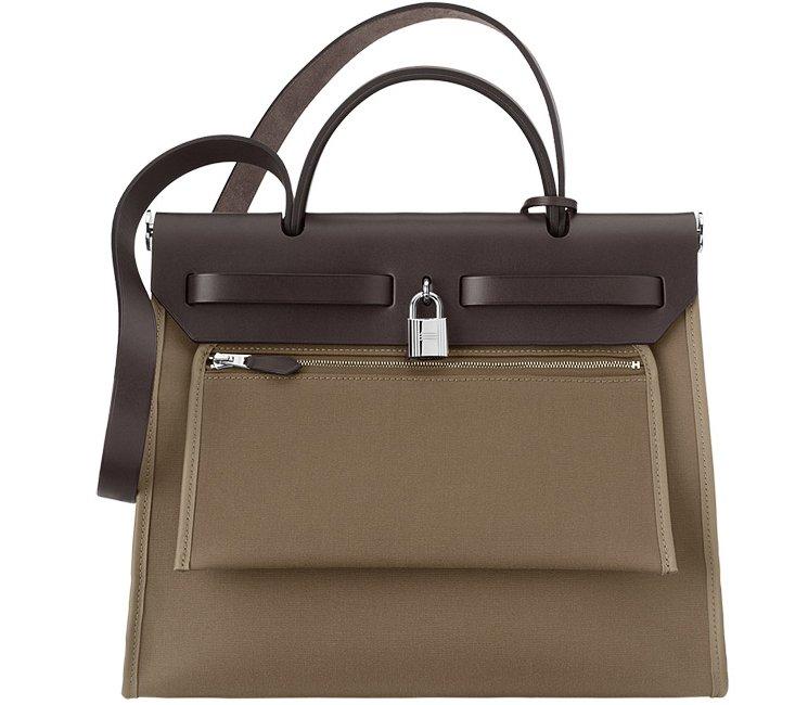 Hermes Herbag Zip Tote Bag in Taupe Calfskin | Bragmybag