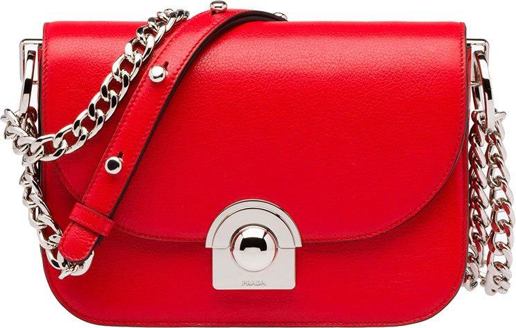 Prada - prada arcade bag light grey+red