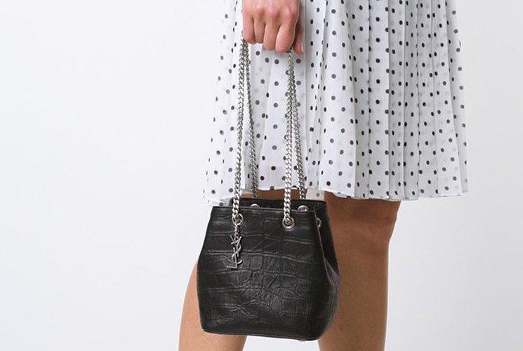 Classic Baby Monogram Saint Laurent Chain Bag In Black Crocodile Embossed Leather