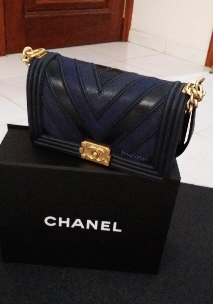 ce48a755fc2802 Shopping With Moon: Boy Chanel Chevron Flap Bag in Navy Blue | Bragmybag