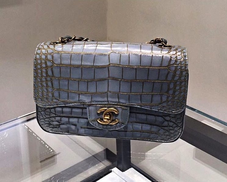 Chanel Croc Flap Bag In Light Blue And