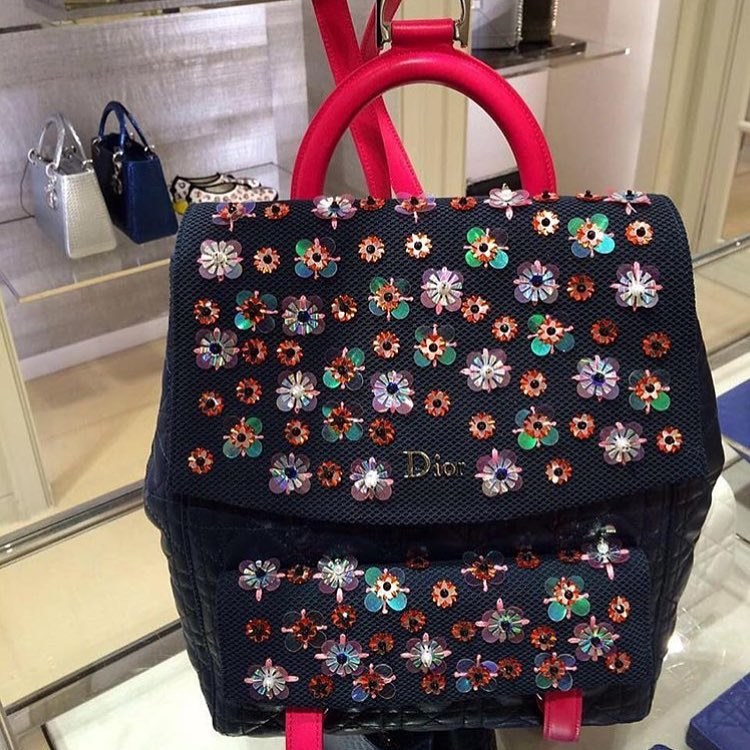 Dior-Cannage-Stiched-Flower-Backpack