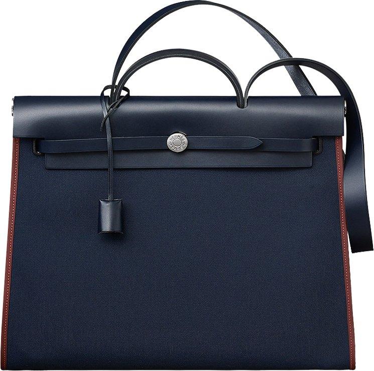 Hermes Herbag Zip MM Bag in Navy Canvas | Bragmybag