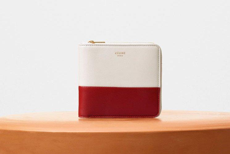 celine blue leather multifunction tri fold wallet