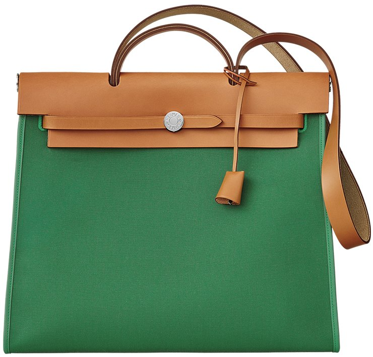 c5456b6fae54 Hermes Herbag Zip Bag in Green Canvas and Cowhide