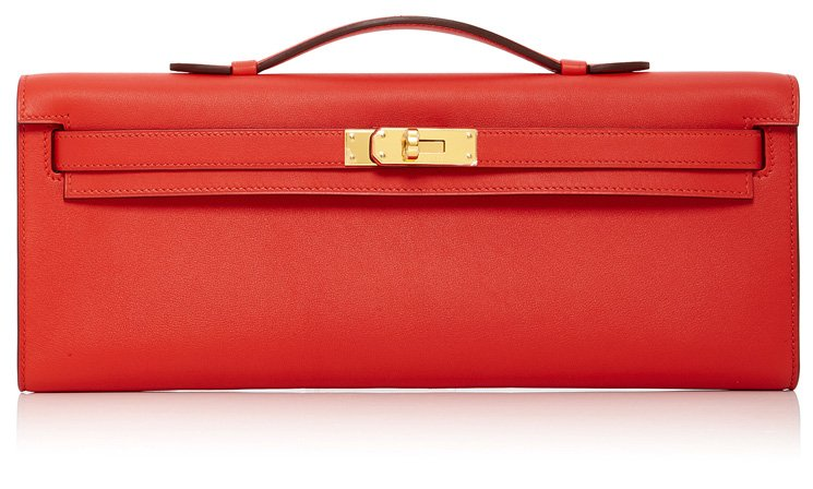 Hermes-Kelly-Cut-Pochette-in-Rouge-Tomate-Swift-Leather