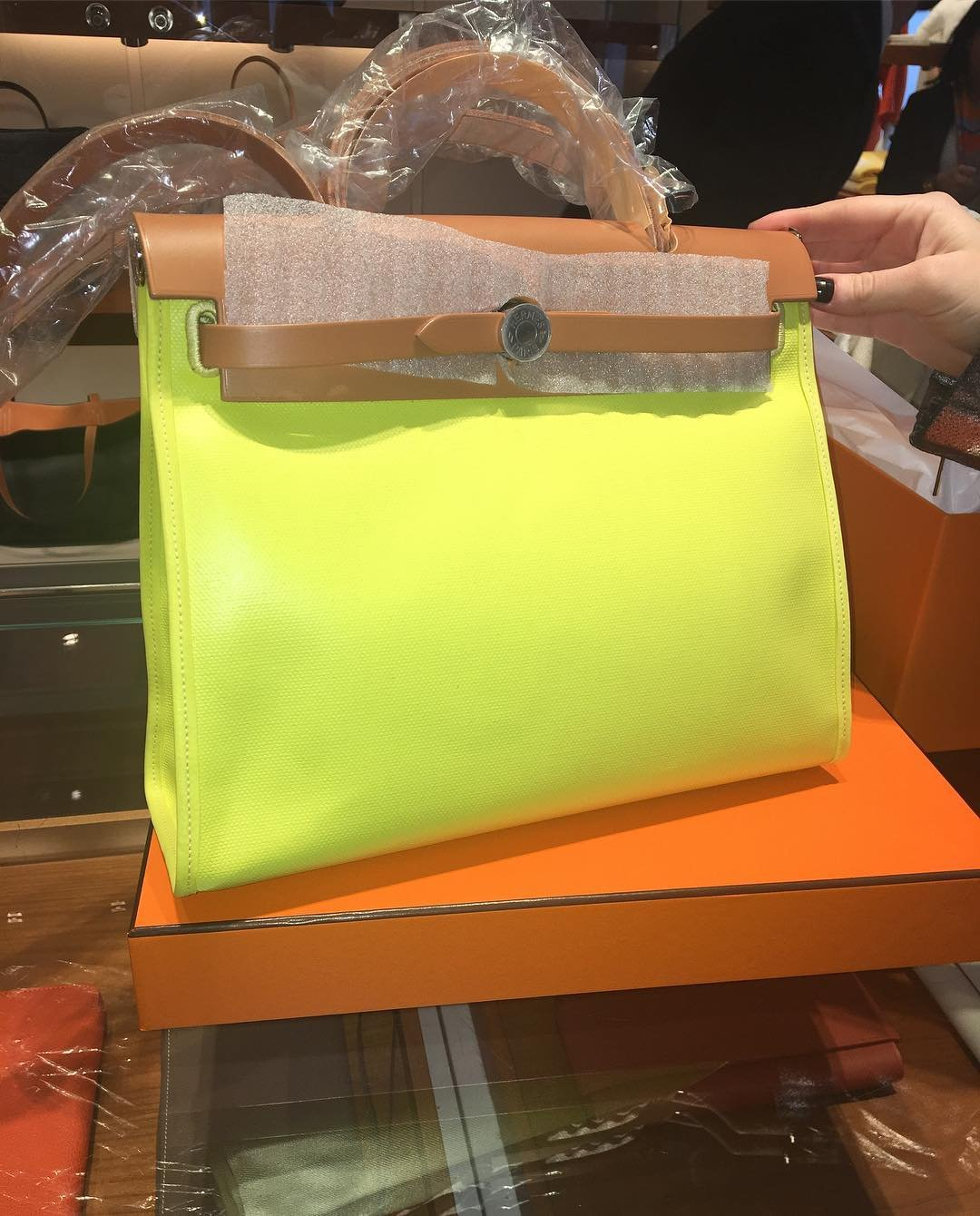 Hermes-Herbag-Zip-Bag-in-Yellow-2