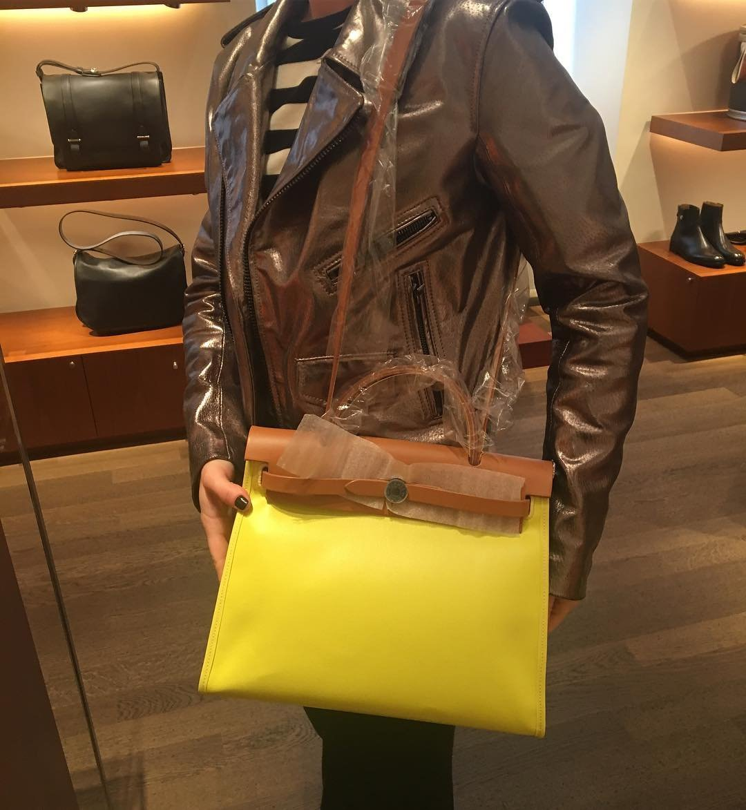 Hermes-Herbag-Zip-Bag-in-Yellow