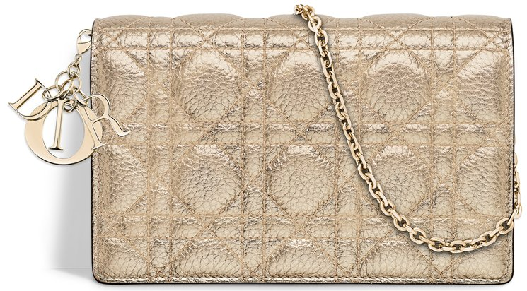 Lady-Dior-Wallet-On-Chain-Pouch-Gold