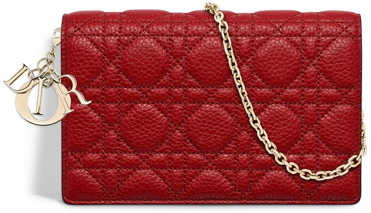 Lady-Dior-Wallet-On-Chain-Pouch-Red