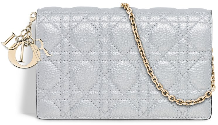 Lady-Dior-Wallet-On-Chain-Pouch-Silver