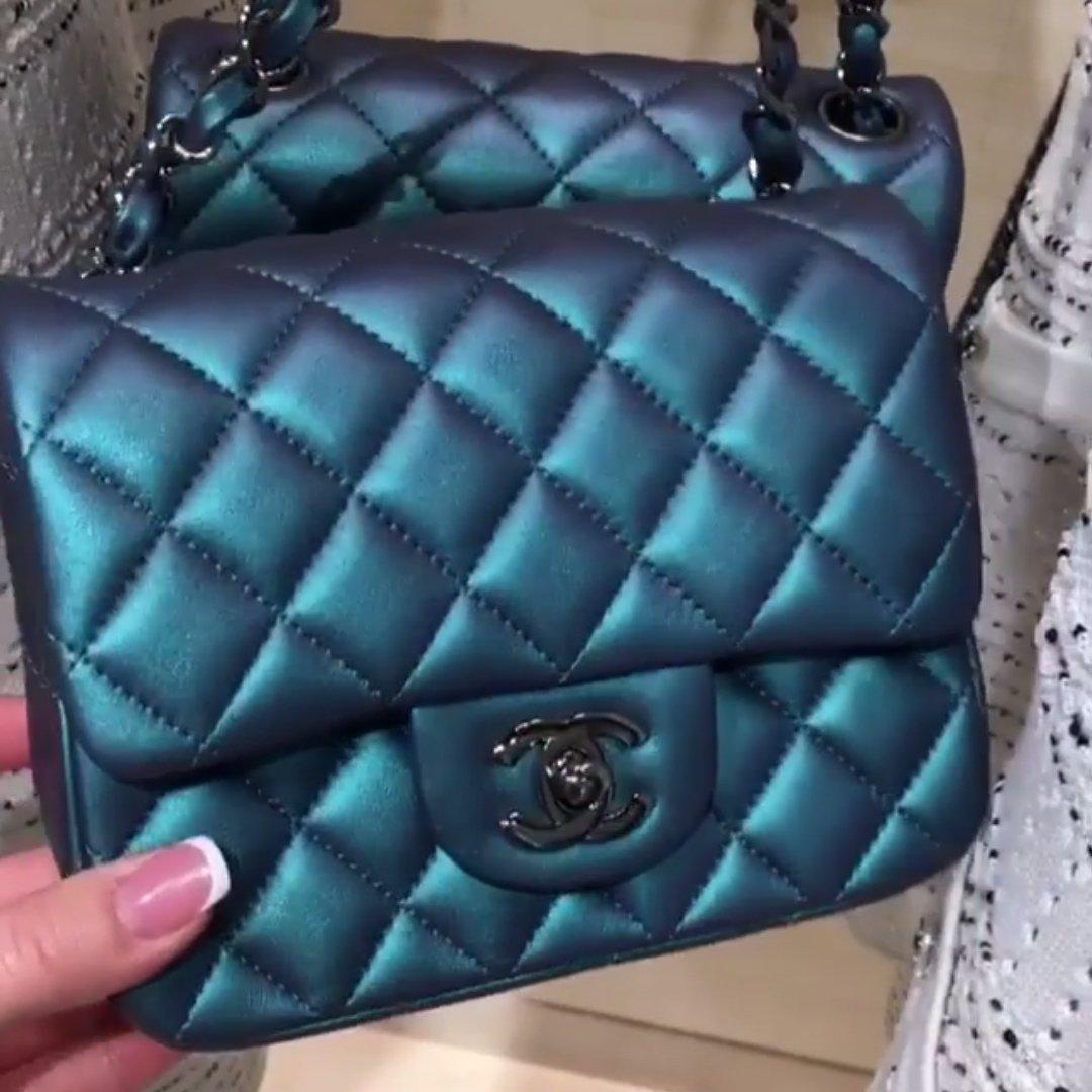 Chanel Metallic Square Mini Classic Flap Bag with Black On Black ... 79716364bb9d3