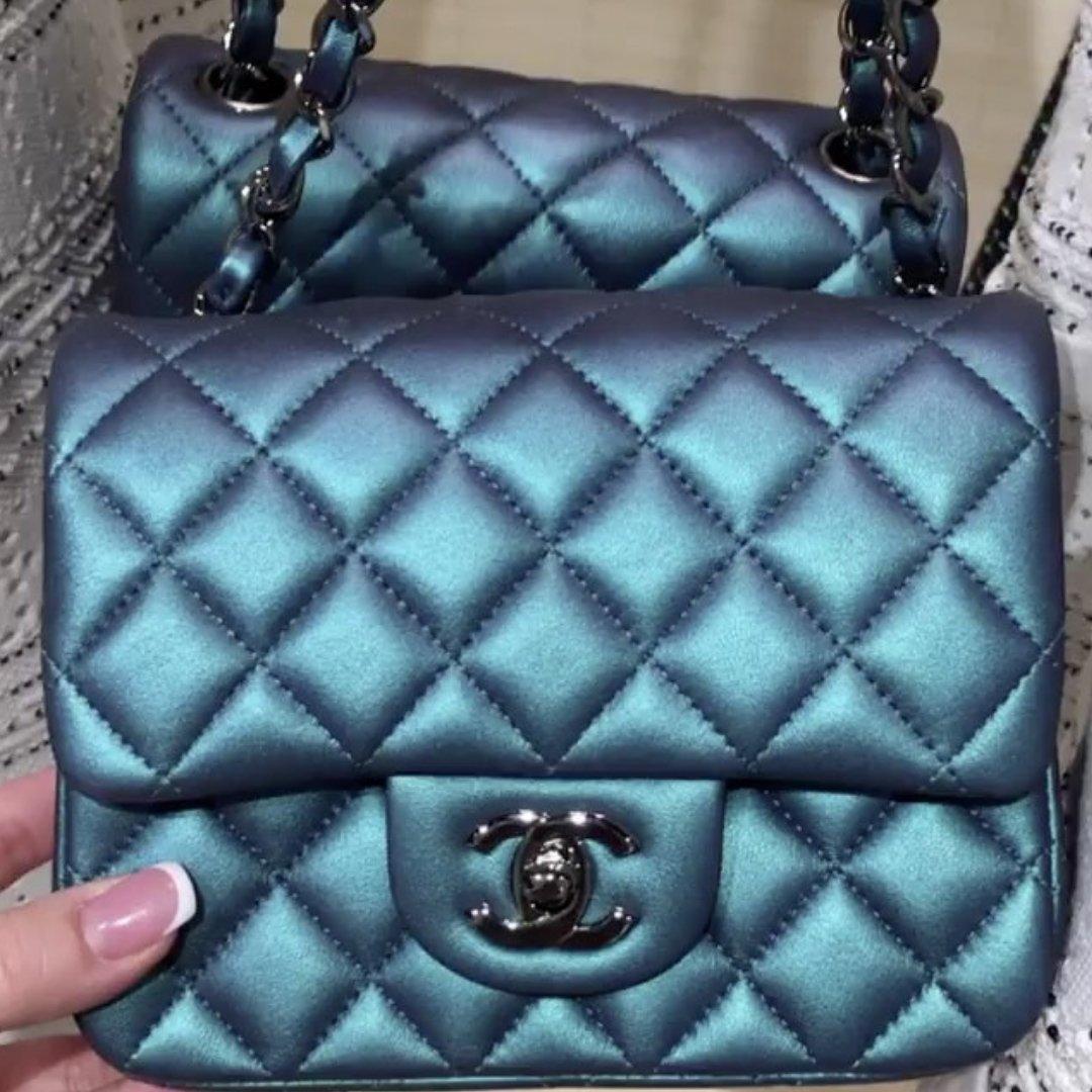 681fb92b58cf Chanel Metallic Square Mini Classic Flap Bag with Black On Black Hardware