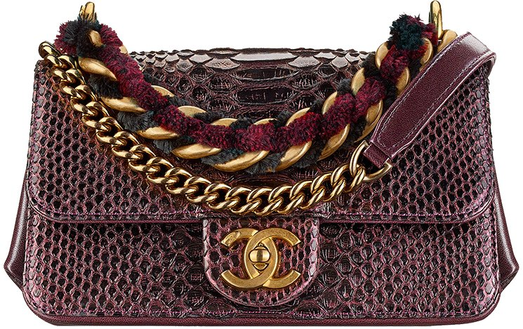 Chanel Python Squared Lined Flap Bag