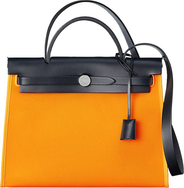 17f40d58c270 Hermes Herbag Zip Bag in Black and Orange - Bragmybag