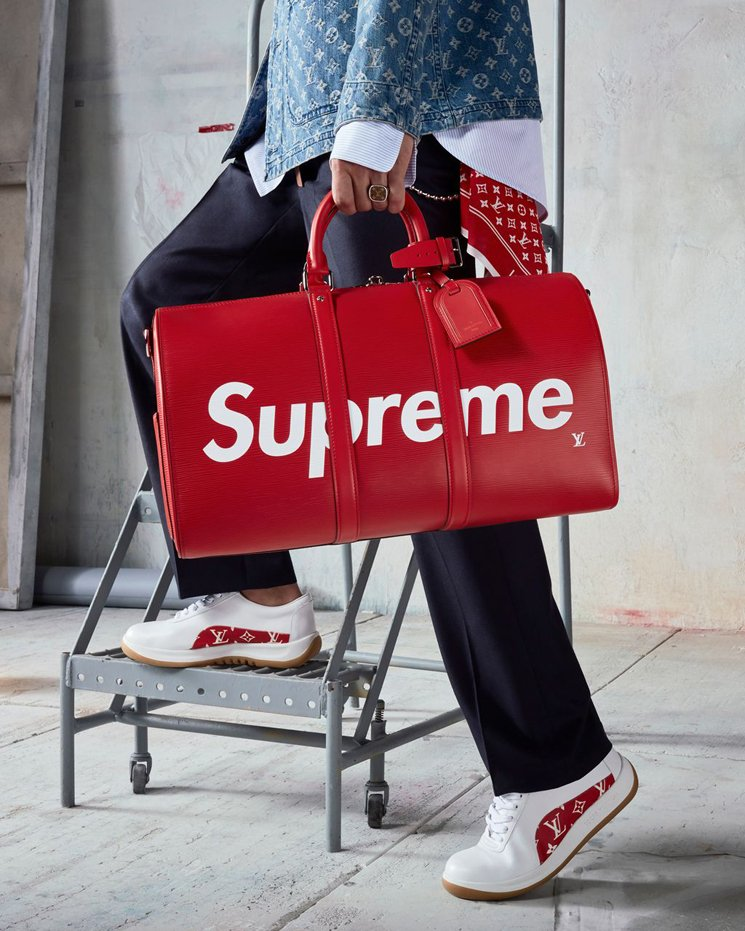 Louis-Vuitton-Supreme KeepAll Bandoulière 45