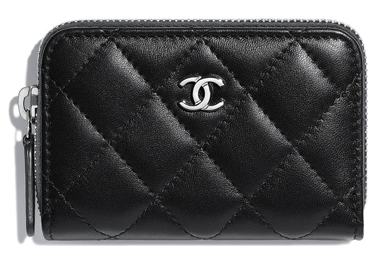 chanel classic zip around card holder