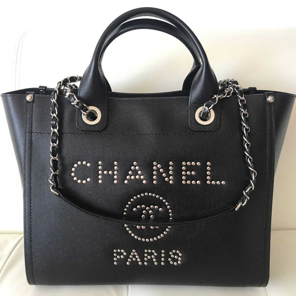 Chanel-Deauville-Studded-Logo-Tote-Bag