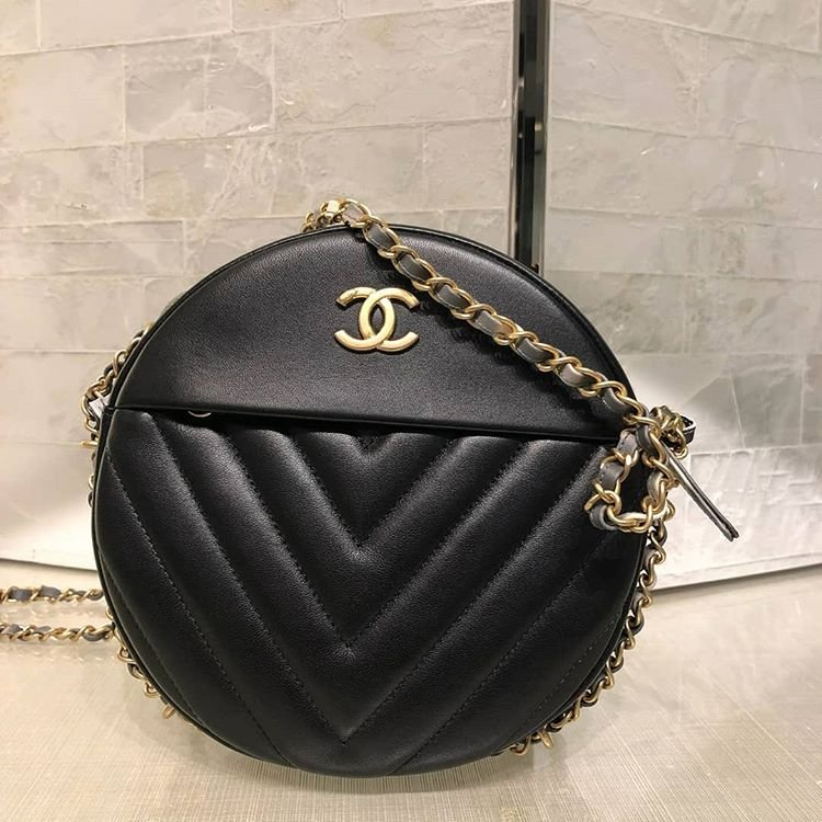 Chanel Round As Earth Chevron Bag